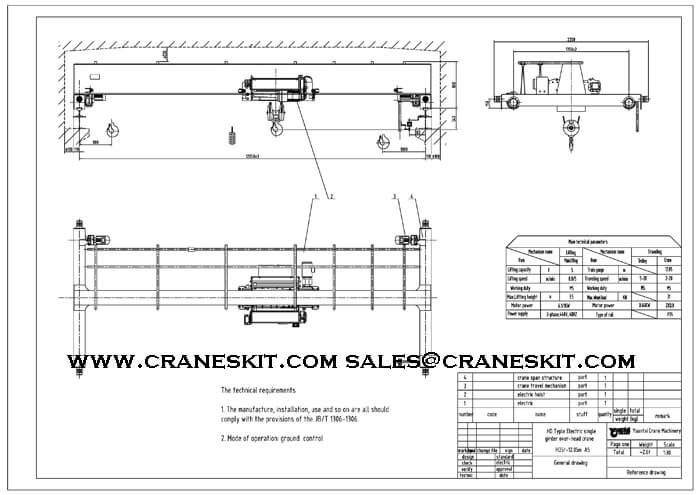 Single Girder Eot Crane Drawing : Sets ton european type single girder overhead crane