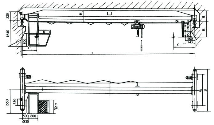Single girder electric hoist crane drawing